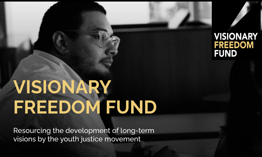 """Photo of young Black man wearing glasses with text that says """"Visionary Freedom Fund"""""""