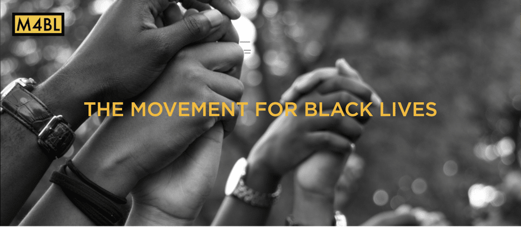 Black Hands intertwined with text that says Movement for Black Lives